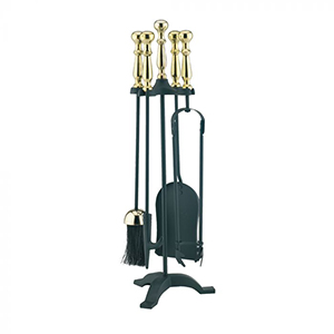 Minster Stoves, stockists of Mansion Ball Top Companion Set - Brass