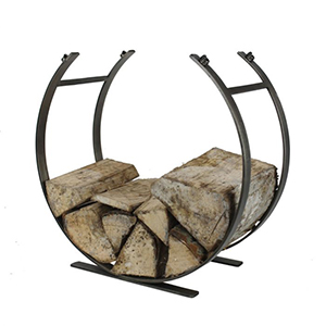 Minster Stoves, stockists of Mansion Curved Log Holder - Pewter