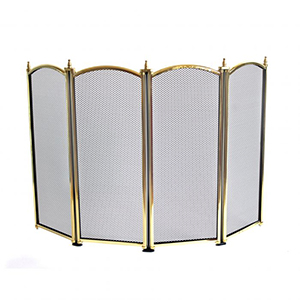 Minster Stoves, stockists of Mansion Four Fold Fire Screen - Brass