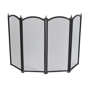 Minster Stoves, stockists of Mansion Four Fold Fire Screen - Black