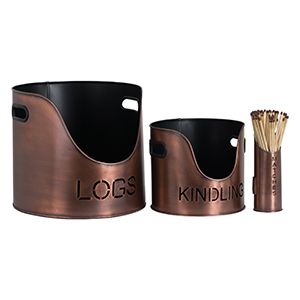 Minster Stoves, stockists of Hill Interiors Copper Log Set