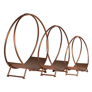 Minster Stoves, stockists of Hill Interiors Copper Log Holder - Set 3
