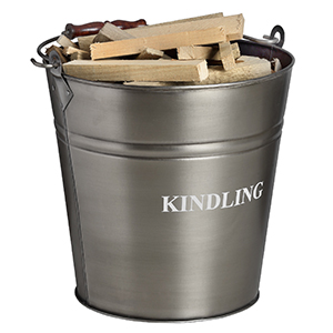 Minster Stoves, stockists of Hill Interiors Kindling Bucket - Pewter