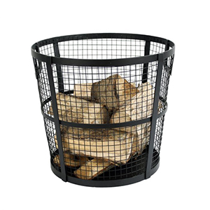 Minster Stoves, stockists of Mansion Wire Basket Log Holder - Black